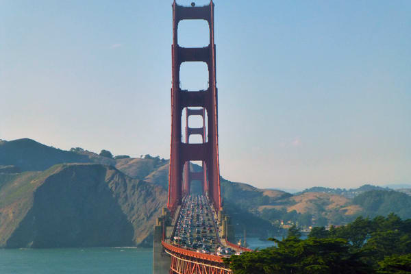 Hop off the bus and walk across the Golden Gate Bridge, its an unforgettable experience.