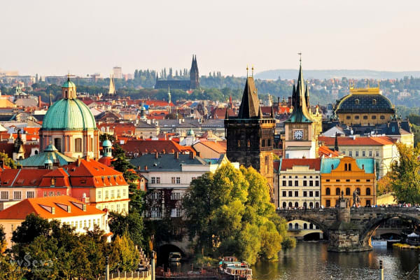 Our tour meanders Prague's beautiful Vltava river with its islands and monuments.