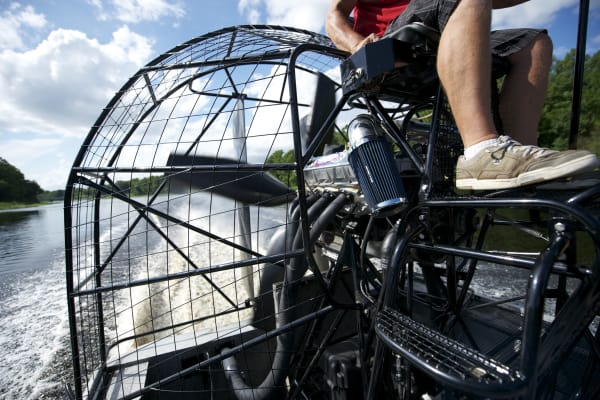 Speed along the water on an airboat for 30 minutes