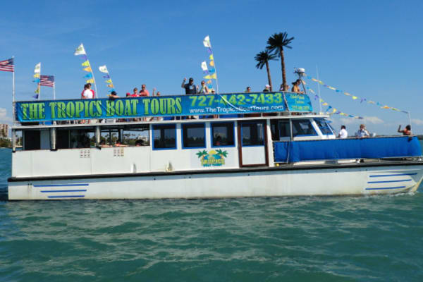 Relax on a double-decker sightseeing boat out on the Gulf