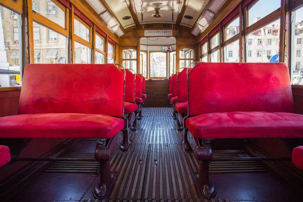Inside a Lisbon typical tram